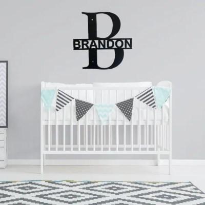 monogram split letter bold baby room