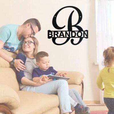 monogram split letter script familyroom