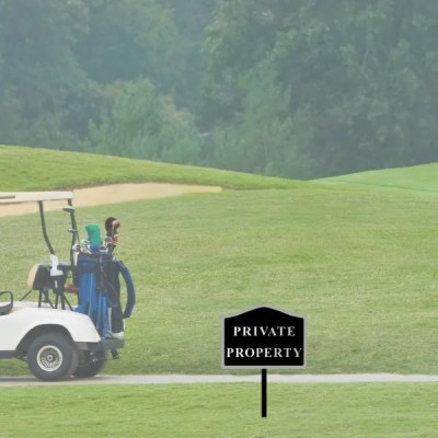 private property sign on golf course