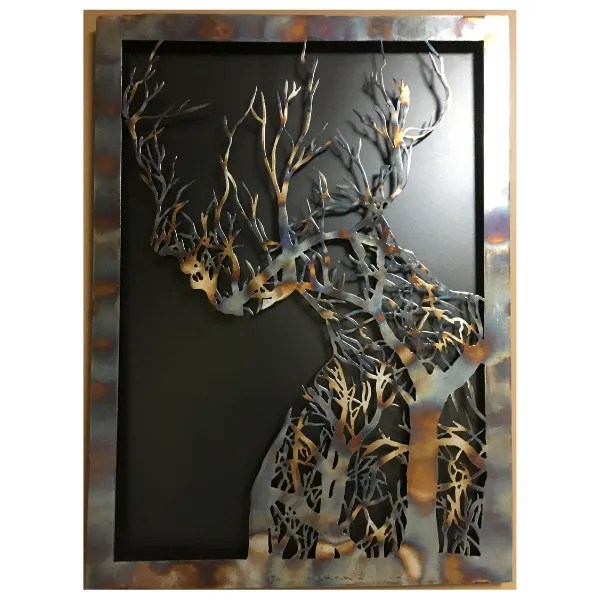metal tree woman patina front