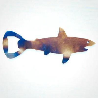 shark bottle opener steel with patina