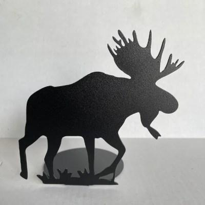 metal moose candle holder black