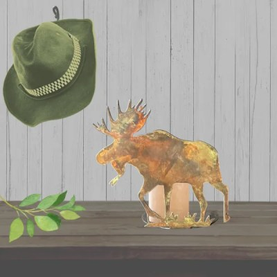 candle holder moose patina table