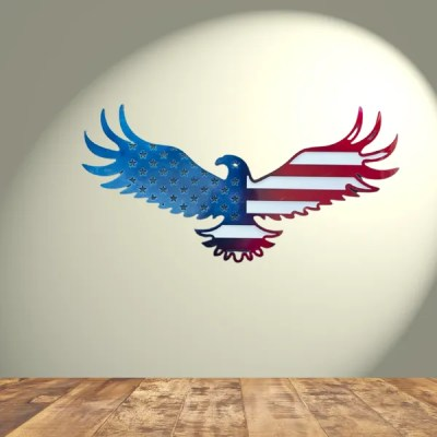 patriotic eagle in spotlight