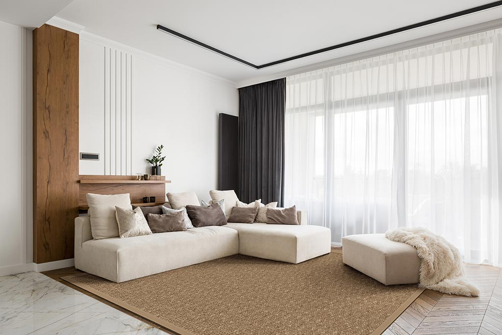 Vacuum your jute rug regularly to keep shedding at a minimum; here Fiji Jute in color birch.