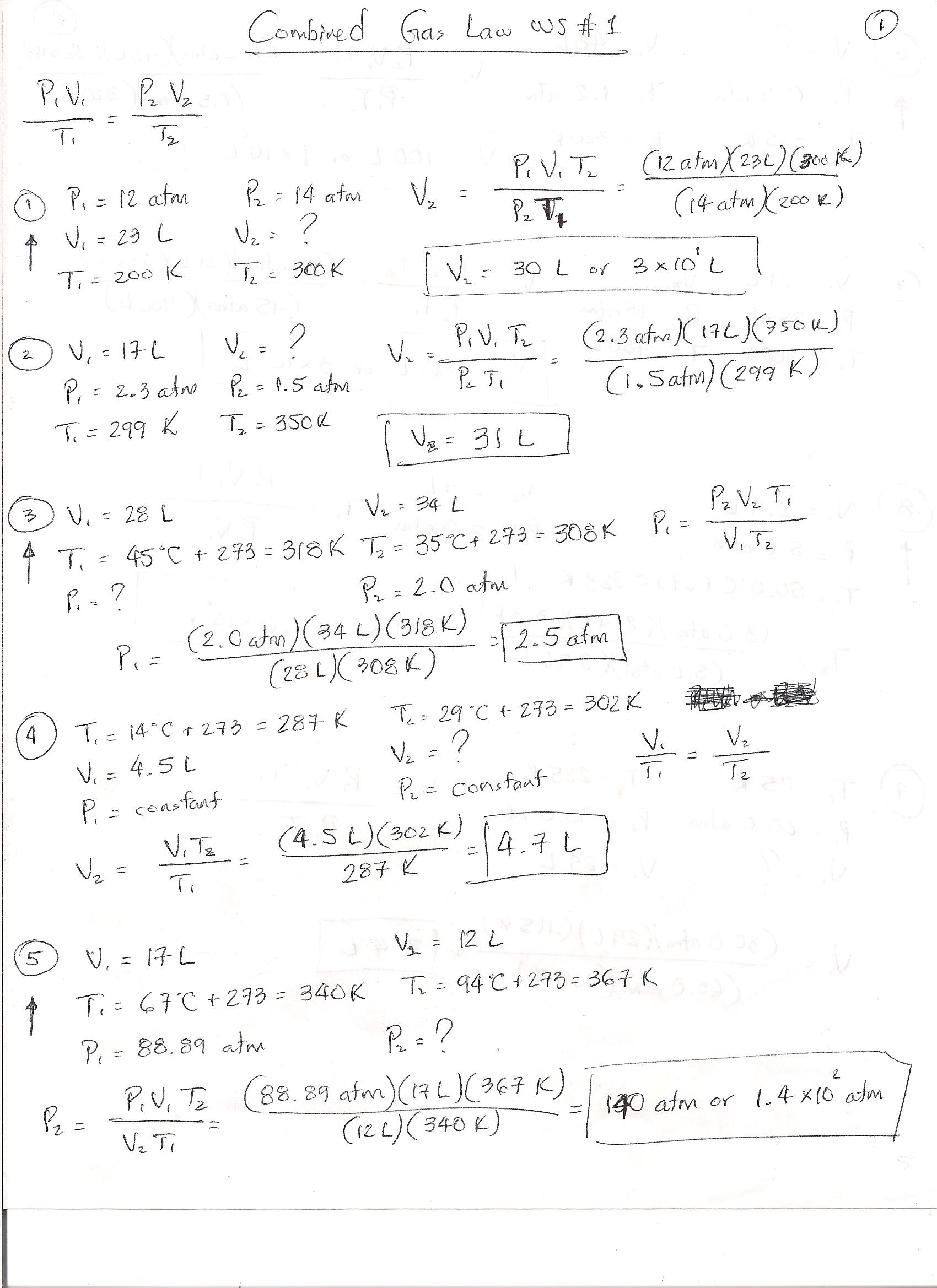Ideal Gas Laws Worksheet