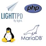 Logos de las herramientas utilizadas.  Linux, Lighttpd, MaridaDB, PHP.