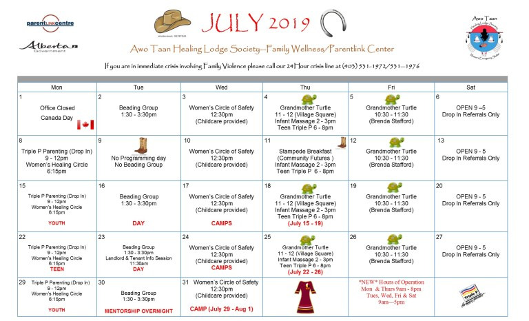 Awo Taan Healing Lodge Society – Family Wellness/Parentlink Centre Calendar of Events July 2019