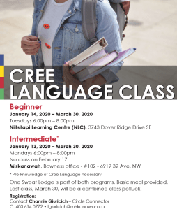 Cree Language Class - Intermediate @ Miskanawah, Bowness office