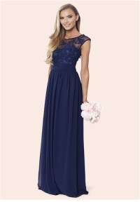 Sistaglam Loriana Navy Embroided Lace Bridesmaid Dress