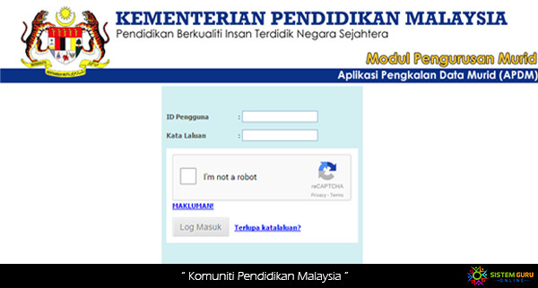 Log In APDM KPM Aplikasi Pangkalan Data Murid Online