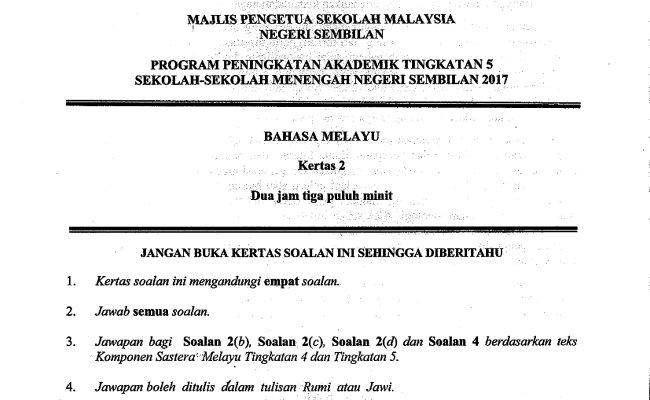 Koleksi Soalan Percubaan Spm 2017 Jawapan Semua Negeri Cute766