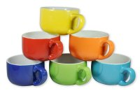Set of 6 Large-sized 14 Oz. Colored Ceramic Coffee & Soup ...