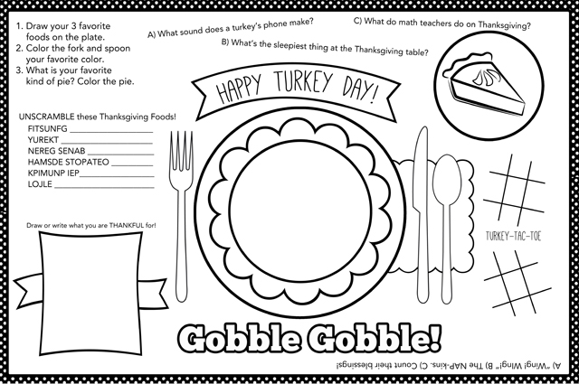 Kids Thanksgiving Placemat + 12 FREE Thanksgiving