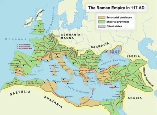 Peta Peradaban Romawi Kuno pada tahun 27SM - 476SM/1453 M