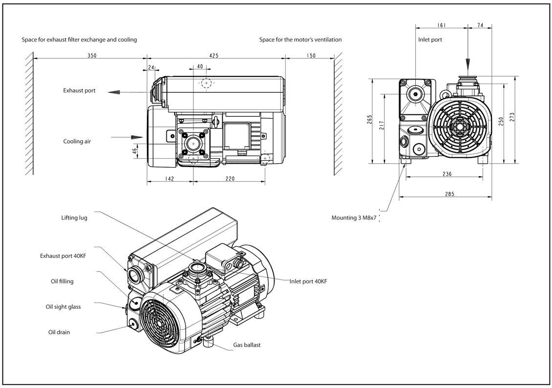 Leybold SV40 BI Single-Stage, Oil-Sealed Rotary Vane