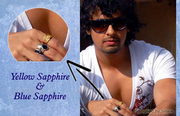 Sonu Nigam Wearing Yellow Sapphire Amp Blue Sapphire Gemstone