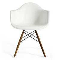 Lorena Fiberglass Arm Chair - White Gloss/Walnut/Ss