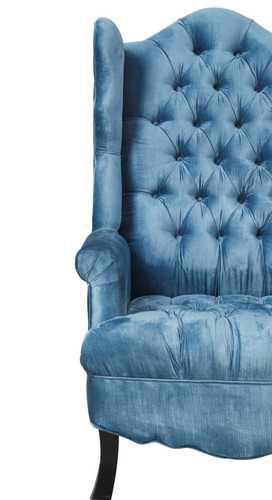 Deborah Blue Velvet Wing Chair