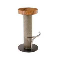 Bar Chairs Concrete High Chair For Stool Chamcha Wood Seat Grey