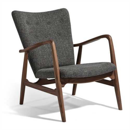 grey lounge chair chairs for the pool pierce american walnut tweed