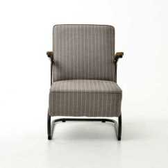 Grey Club Chair Attached Table Evans Fabric White Stripe