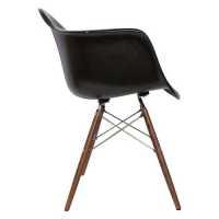 Lorena Fiberglass Arm Chair - Black Matt/Walnut/Ss