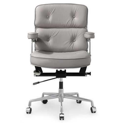 grey leather desk chair ergonomic lower back pain pettis office in italian