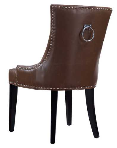 Candace Antique Brown Leather Dining Chair