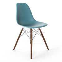 Lorena Fiberglass Side Chair -Blue Matte/Walnut/Ss ...