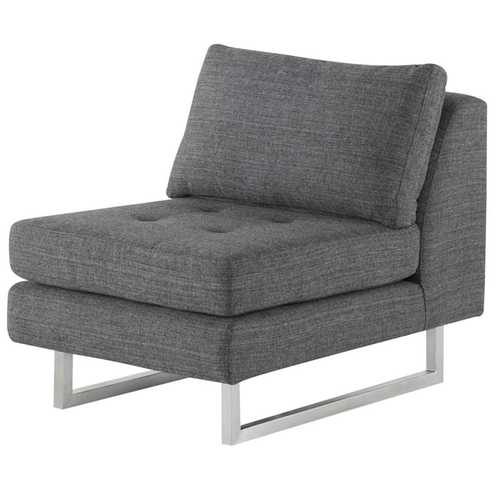 armless sofas sofa white background janis seat in dark grey tweed fabric and brushed silver legs