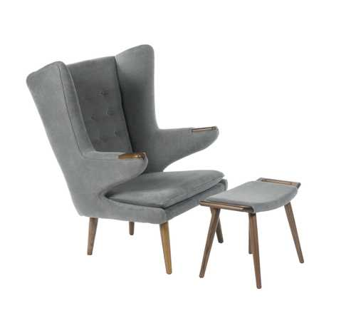grey oversized chair with ottoman ikea canada dining covers auroch and american walnut