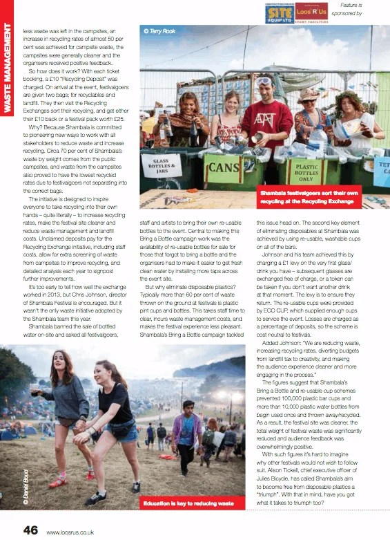 Recycling Rocks - Stand Out Magazine - October 2013