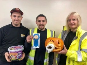 the winners of the pumpkin carving competition