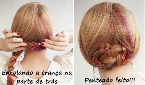 penteados para festa - coque trançado