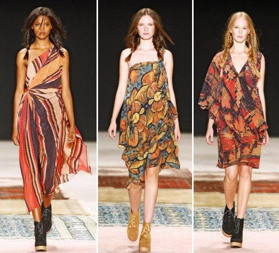 Vestidos coloridos com estampas étnicas
