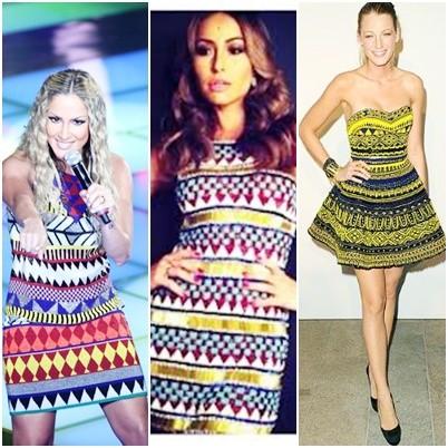 celebridades usando vestidos com estampas etnicas