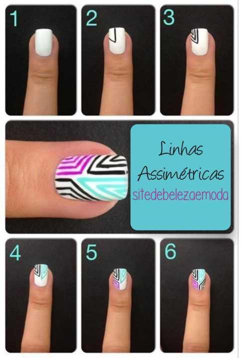 nail art assimetrica passo a passo