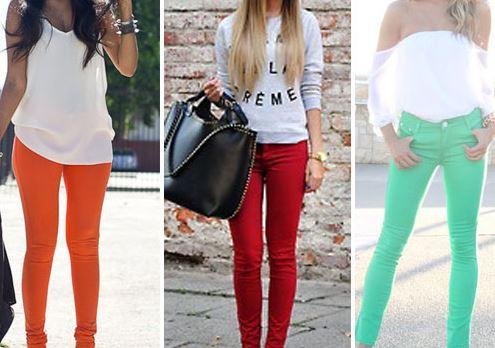 look com calças Skinny coloridas
