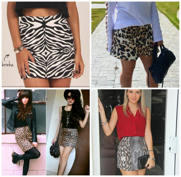 saias estampadas com animal print