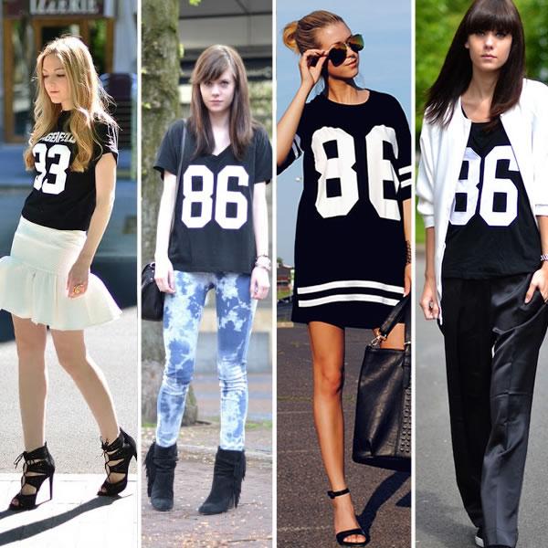 entre as tendências da moda está a camiseta com números