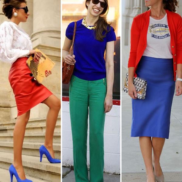 usando acessórios com roupas de cores primárias