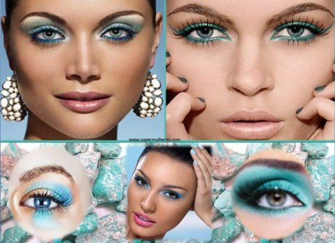 maquiagem turquesa
