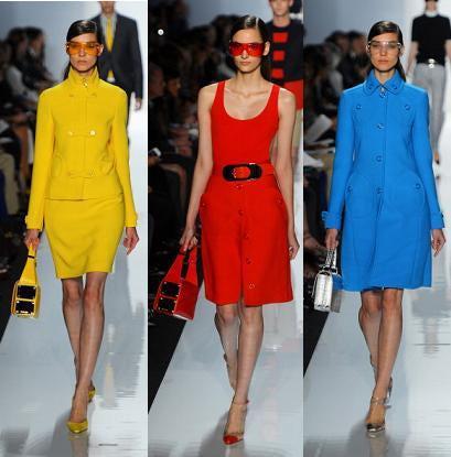desfile das cores primárias da moda