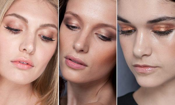 rostos maquiados com sombra marrom