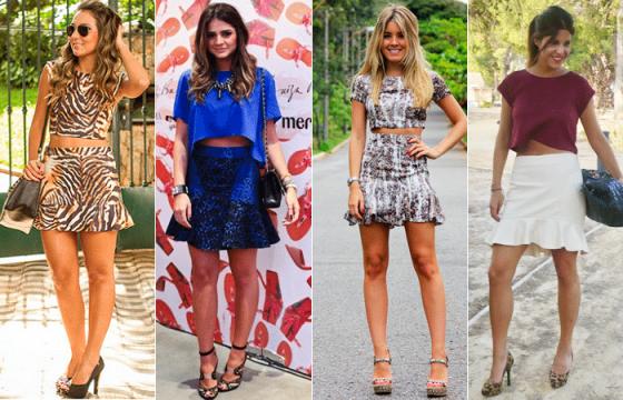 foto de vários modelos de saia com babados na barra