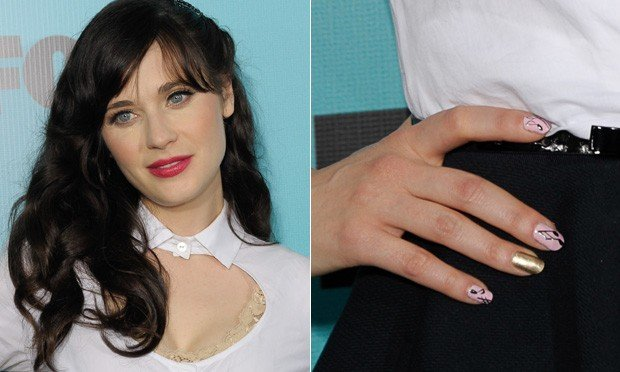 unhas decoradas da Zooey Deschanel