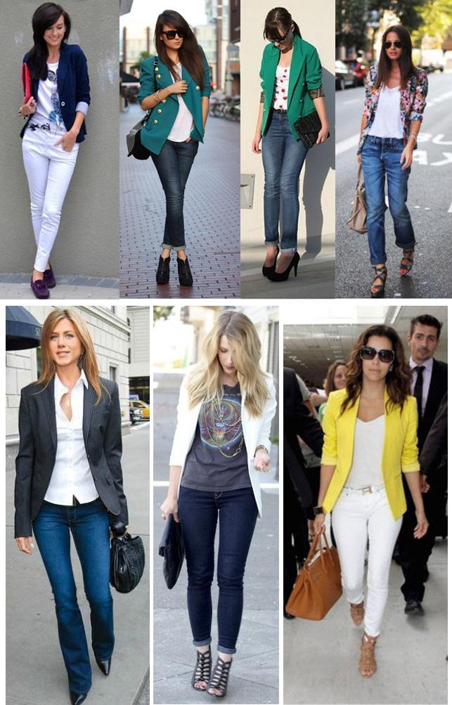 Blazer feminino e calça jeans