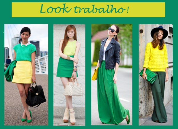 look verde e amarelo formal