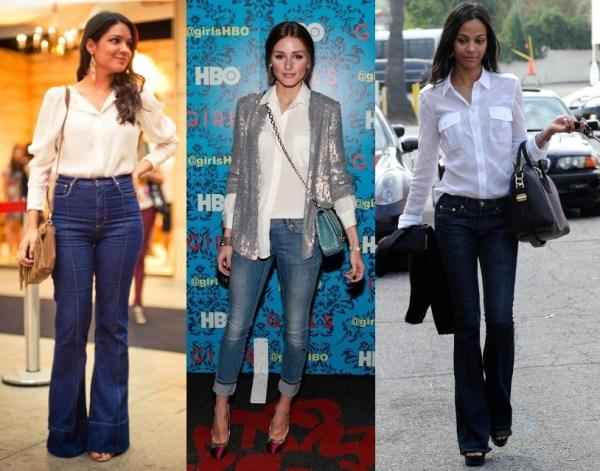 Camisa branca + calça jeans